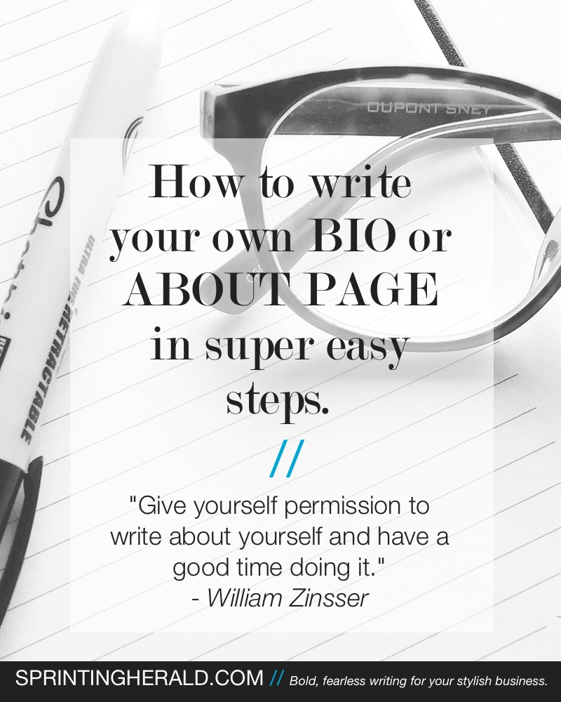 Write Your Own About Page // Sprinting Herald